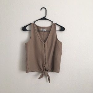 Madewell Texture & Thread Button Front Tie Tank